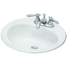 Briggs Homer White Enameled Steel Drop In Round Bathroom Sink with Overflow Drain