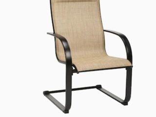 Garden Treasures Pelham Bay Set of 6 Black Metal Spring Motion Dining Chair s  with Tan Sling Seat retail   350