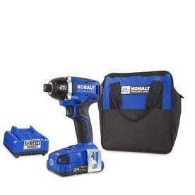 Kobalt 24 volt Max lithium Ion 1 4 in Cordless Variable Speed Brushless Impact Driver  1 Battery Included