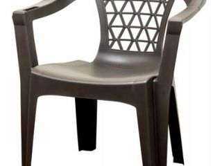 Adams USA Resin Stack Chair with Phone Holder  Brown