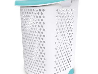 Rolling laundry Hamper White Turquoise   Room Essentials missing handles