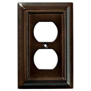 brainerd 126340 wood architectural single duplex outlet wall plate   switch plate   cover  espresso