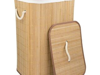 Home Basics Rectangular Bamboo Hamper  Natural