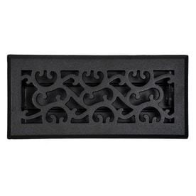 Accord Select Charleston Black Cast Iron Floor Register  Duct Opening  4 in x 10 in  Outside  5 5 in x 11 5 in