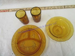 VINTAGE SET OF BABY DISHES  GlASS