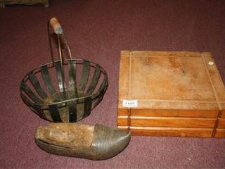 Wooden Box  12  x 12  Metal Basket  Shoe
