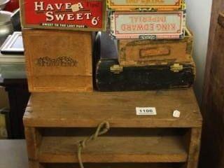 Wooden Desk File Box  6 Cigar Boxes