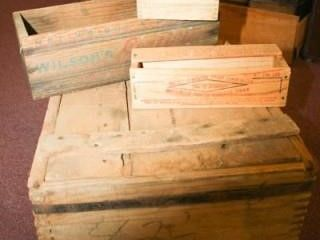 Wooden Box with Metal Bands  4 boxes