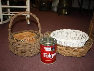 Baskets   4  Handled 14  tall  Folgers Can