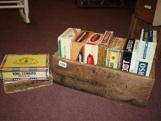 Wooden Box 18  x 10  x 61 2    9 cigar boxes