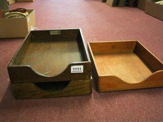 Wooden Desk Trays  3 total