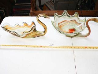 Glass Bird Bowls  Amber and Green Orange