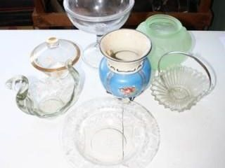 Various Glass Pieces  Compote w lid  Swan