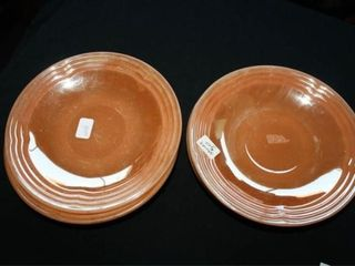 Fireking Peach luster Saucers  6  sm  Pie dish