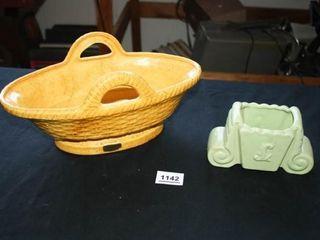 Haeger Basket  Yellow  Mint Green Planter