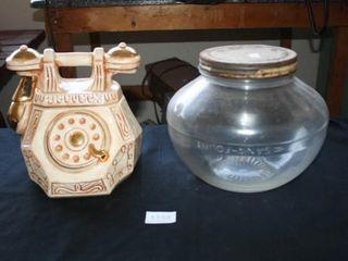 Phone Cookie Jar  Glass Jar Round