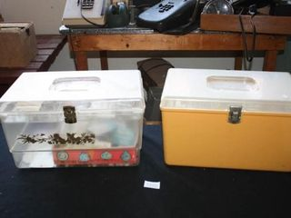 Plastic Sering Supplies Boxes  Yellow  Clear