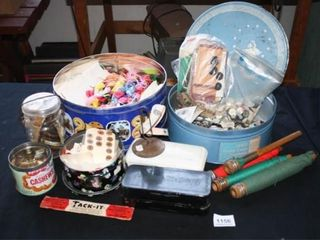 Cookie Tins filled with buttons and thread