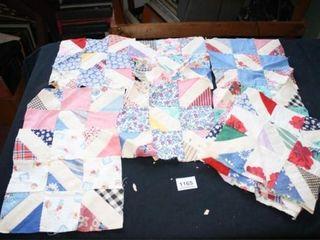 14 Handstitched Quilt Blocks  Some feed sacks