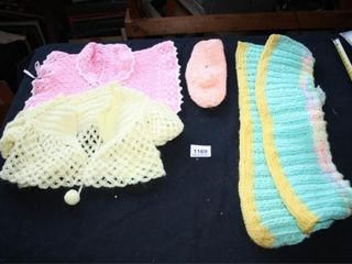 Crocheted Items  2 shawls  shoe  unknown