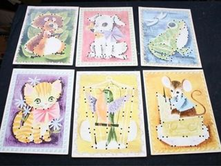 Vintage Children s Sewing Cards  15 total