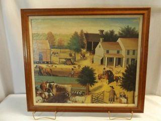 Painted Framed Canvas  Farm life Theme
