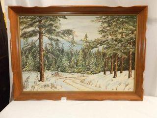 Painted Framed Canvas  Herren  Mountain Theme