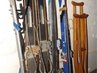 Skis  Poles  Crutches  7 pair