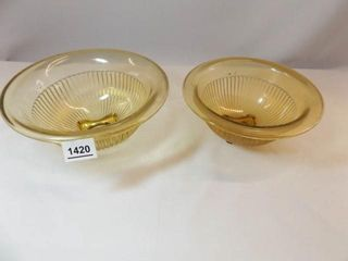 Yellow Glass Mixing Bowls  Ribbed  9  10   2