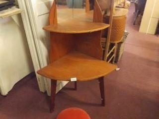 Corner Shelf  Small Footstool  45  x 25  x 17