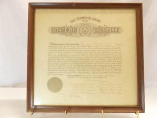 1938 law Certificate  Oklahoma  framed  18  X