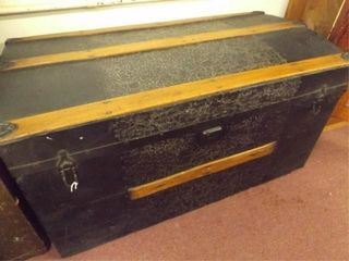 Metal and Wood Trunk  36  x 19  x 18