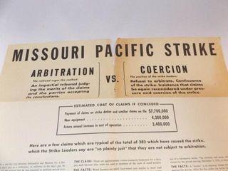 1943 Missouri Pacific Railroad Strike Poster
