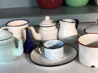 Assorted Enamelware Cups  Kettles  Plates