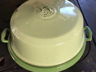 Green Enamel Cake Server
