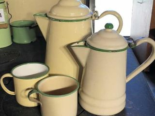 2 Green Handle Enamel Coffee Pots and Cups