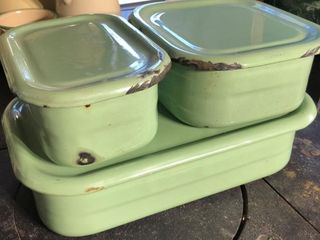 Green Enamelware Storage Containers