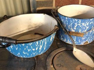 Blue Swirl Enamelware Bucket and Basin with Handle