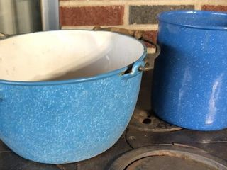 Blue Speckle Enamelware Canister and Pouring Bowl