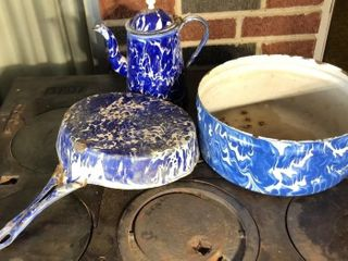 Blue Swirl Kettle  Pan  and Pot