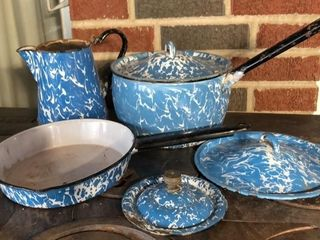 Turquoise Swirl Enamelware Assortment