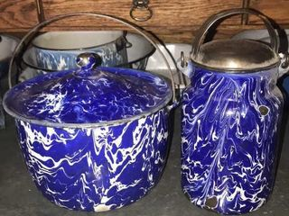 Blue and White Swirl Covered Pot and Cream Pail