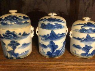 3 Piece Porcelain Canister Set