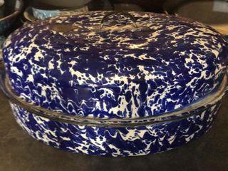 large Blue   White Swirl Enamel Roaster