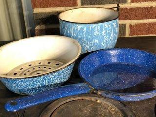 Blue swirl Enamelware Pan  Bowl  and Pot