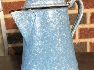 light Blue Swirl Enamelware Coffee Pot
