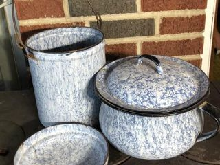 light Blue Enamel Chamber Pot and Canister
