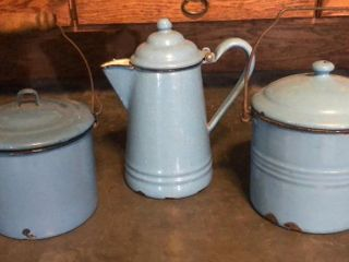 Blue Graniteware 2 lunch Pails and Pot
