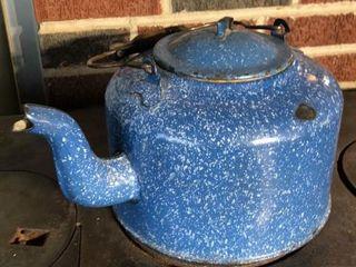large Blue Enamelware Kettle