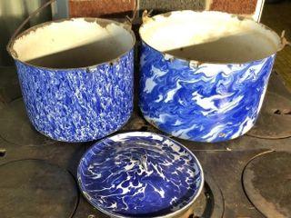 Heavy Swirl Blue Enamel Pots and lid